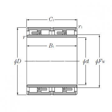 Four Row Cylindrical Roller Bearings NTN 4R6023